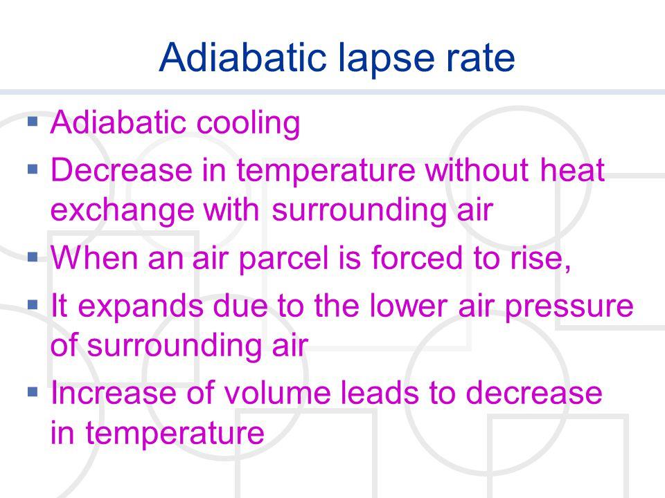 Adiabatic lapse rate Adiabatic cooling