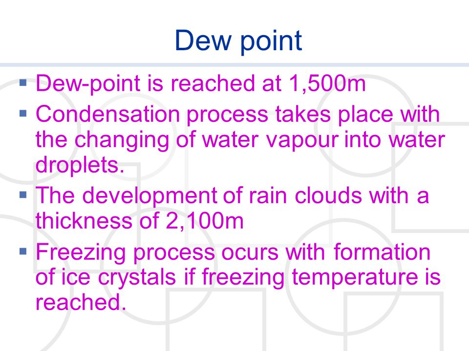 Dew point Dew-point is reached at 1,500m