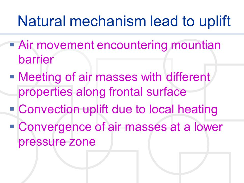 Natural mechanism lead to uplift