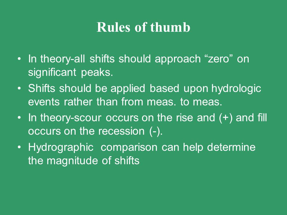 Rules of thumb In theory-all shifts should approach zero on significant peaks.