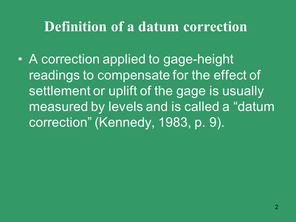 Definition of a datum correction