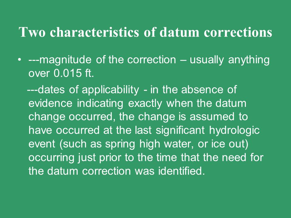 Two characteristics of datum corrections