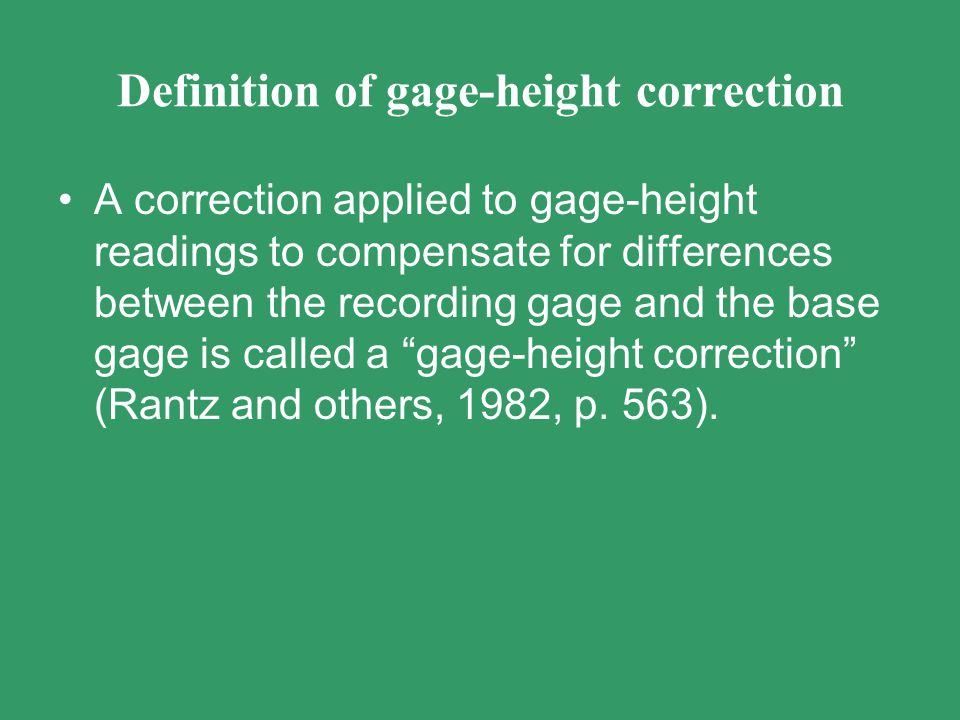 Definition of gage-height correction