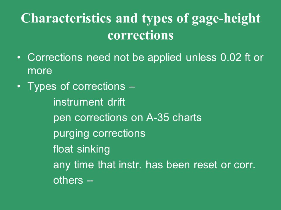 Characteristics and types of gage-height corrections