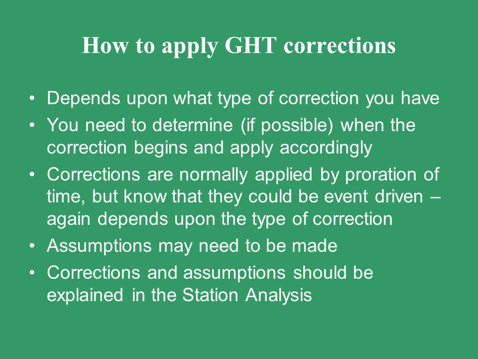 How to apply GHT corrections