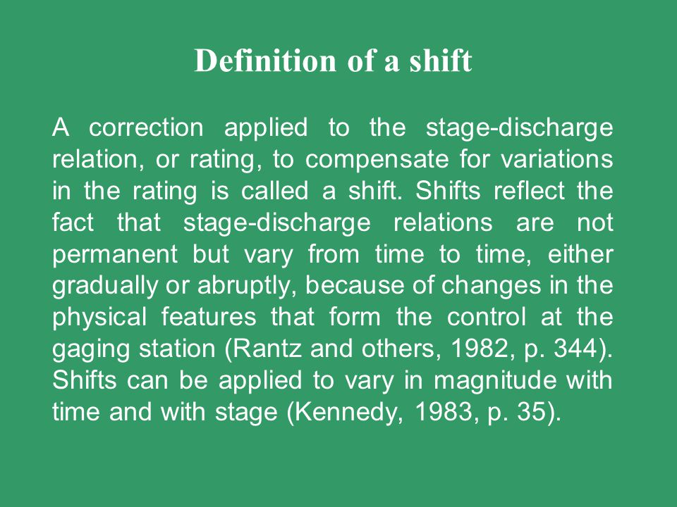 Definition of a shift