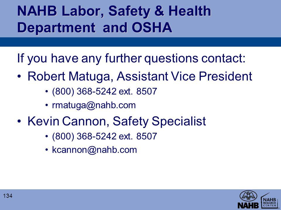 NAHB Labor, Safety & Health Department and OSHA