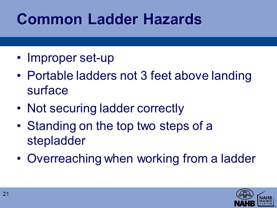 Common Ladder Hazards Improper set-up