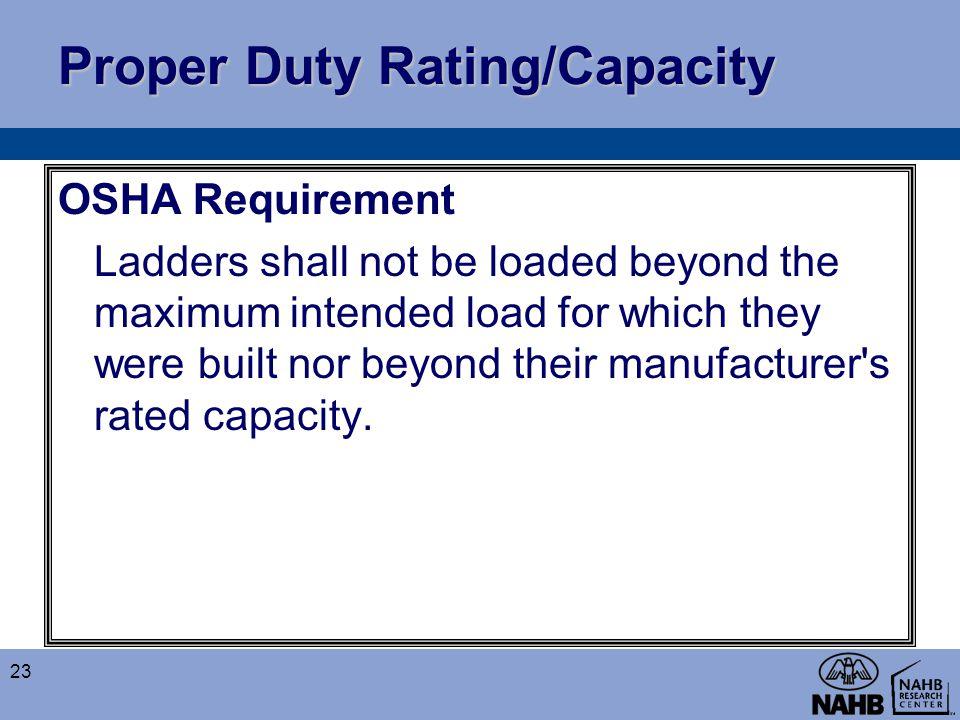 Proper Duty Rating/Capacity