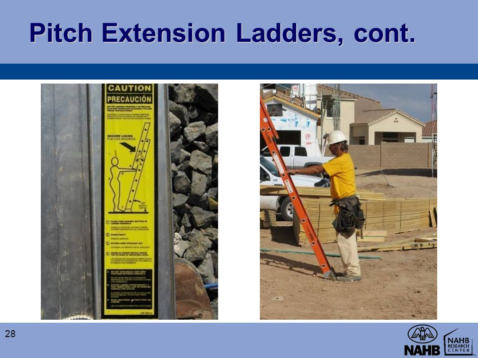Pitch Extension Ladders, cont.