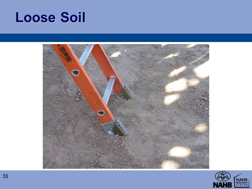 Loose Soil The spikes, or spurs, on the ladder safety feet allow for the ladder to be set up safely on loose soil to prevent slipping.