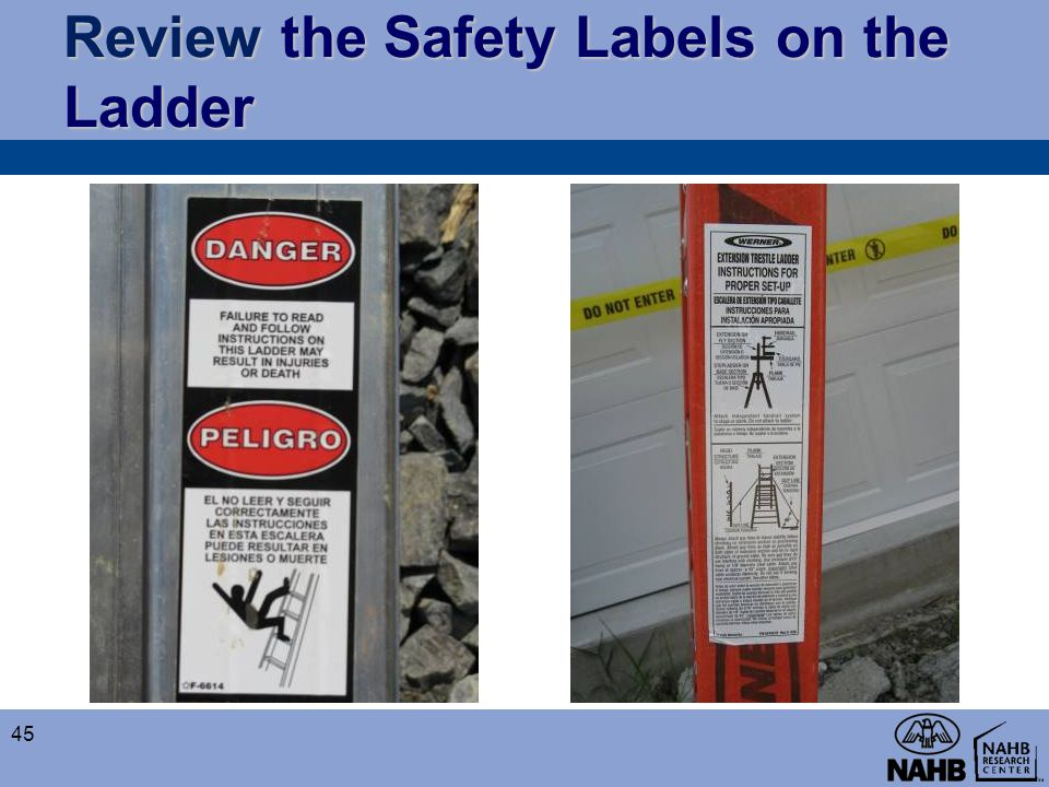 Review the Safety Labels on the Ladder
