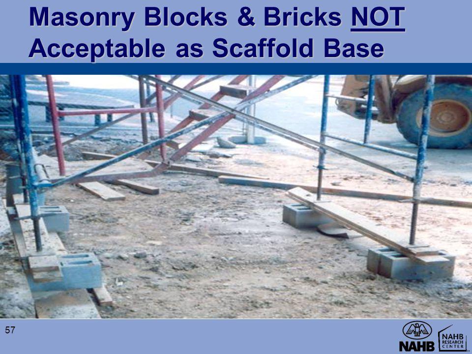 Masonry Blocks & Bricks NOT Acceptable as Scaffold Base
