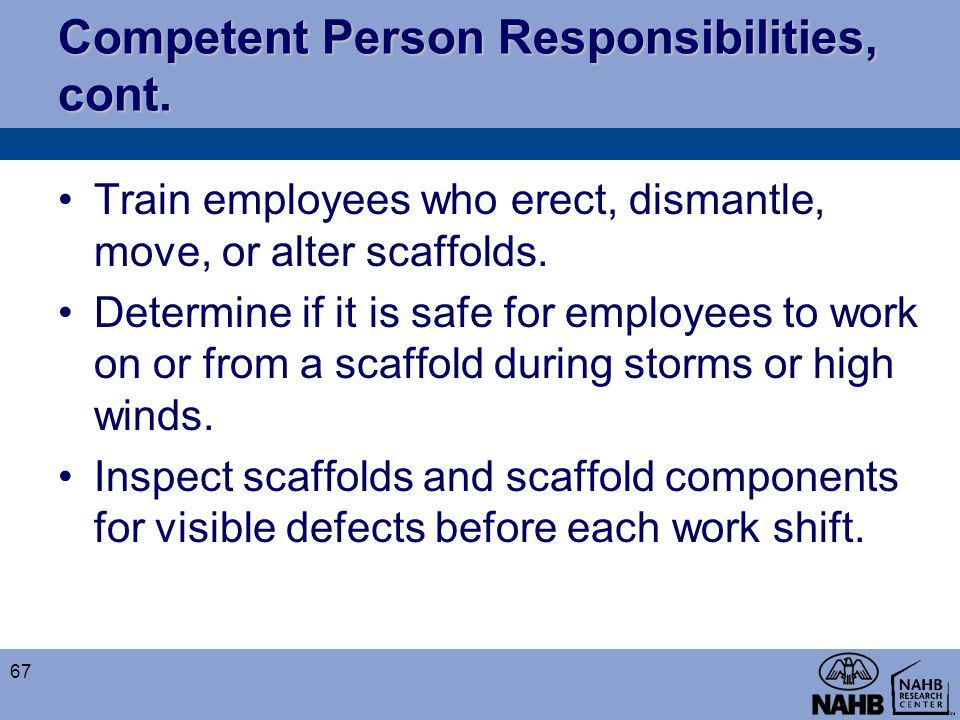 Competent Person Responsibilities, cont.
