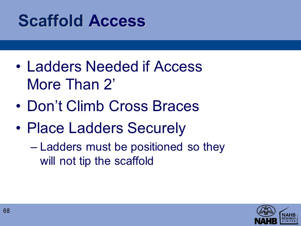 Scaffold Access Ladders Needed if Access More Than 2'