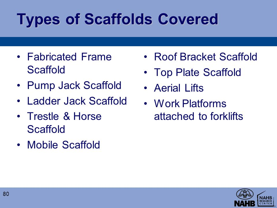 Types of Scaffolds Covered