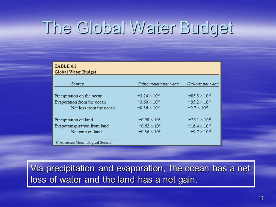 The Global Water Budget