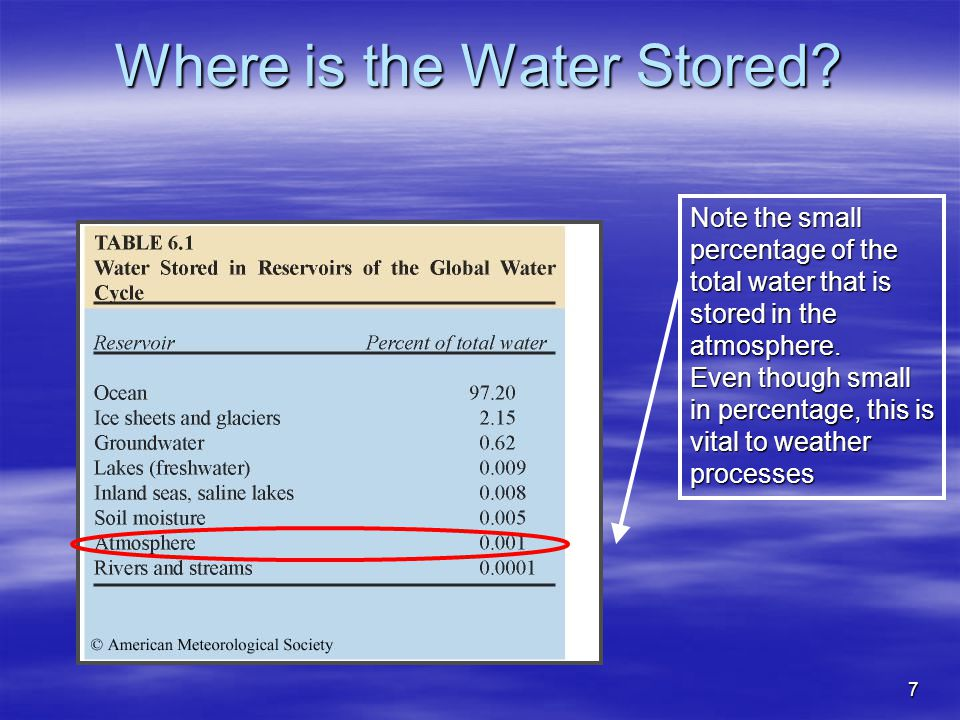 Where is the Water Stored