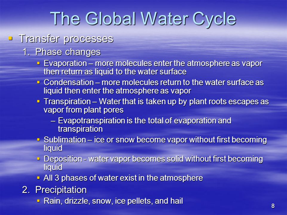 The Global Water Cycle Transfer processes 1. Phase changes