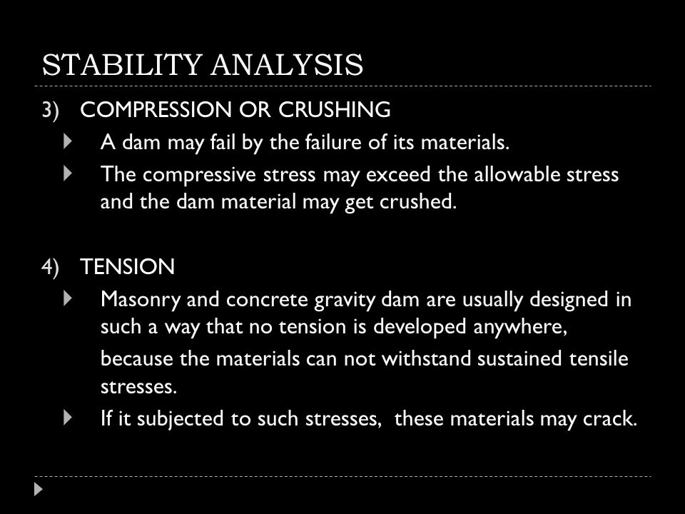 STABILITY ANALYSIS COMPRESSION OR CRUSHING