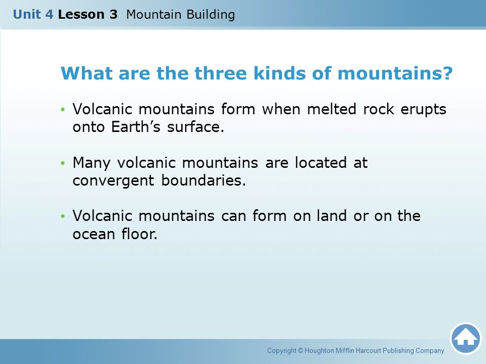 What are the three kinds of mountains