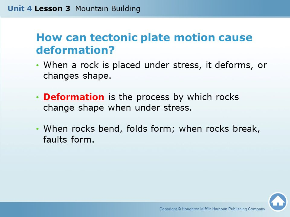 How can tectonic plate motion cause deformation