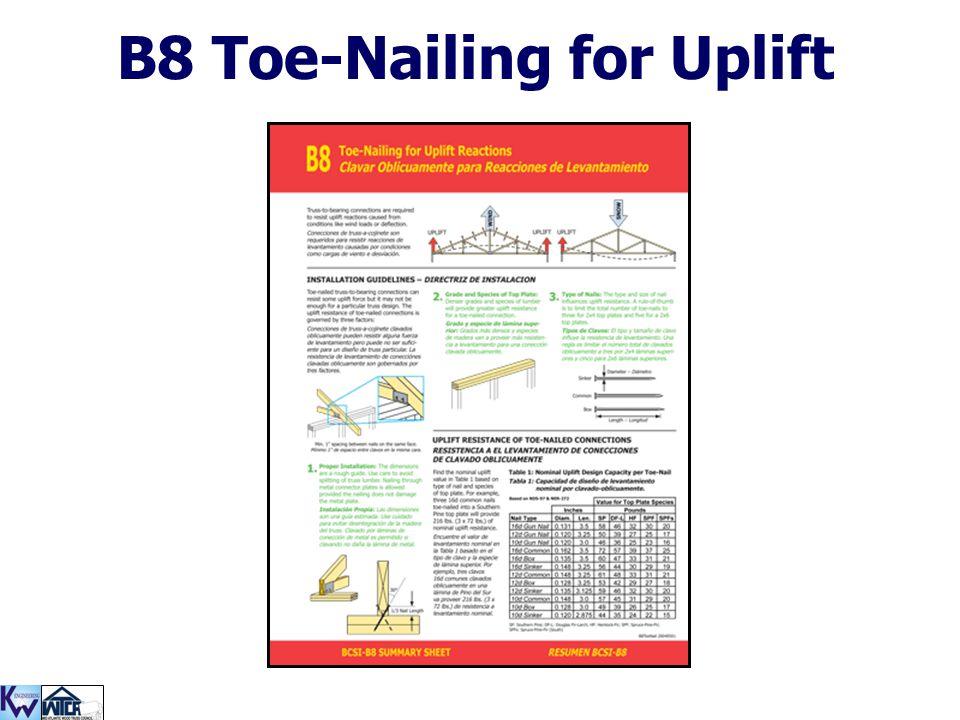 B8 Toe-Nailing for Uplift