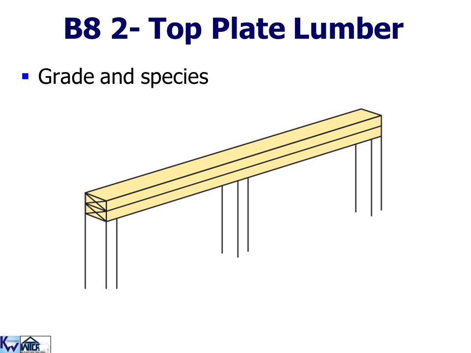 B8 2- Top Plate Lumber Grade and species