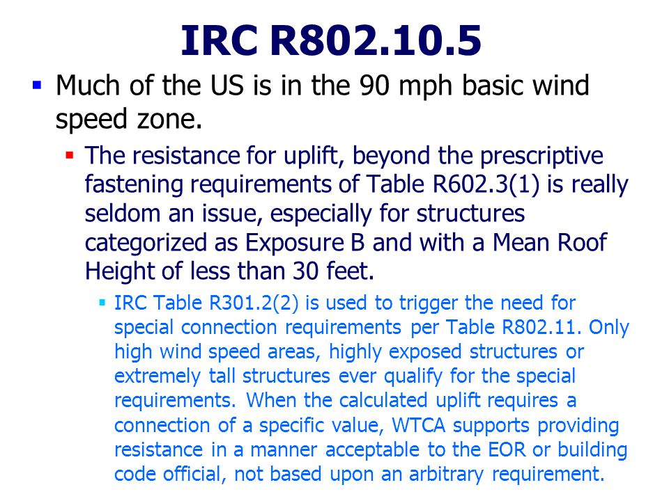 IRC R802.10.5 Much of the US is in the 90 mph basic wind speed zone.