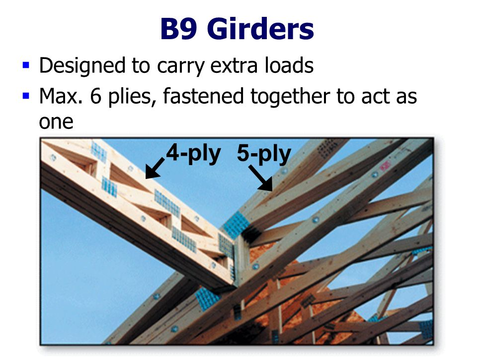 B9 Girders 4-ply 5-ply Designed to carry extra loads