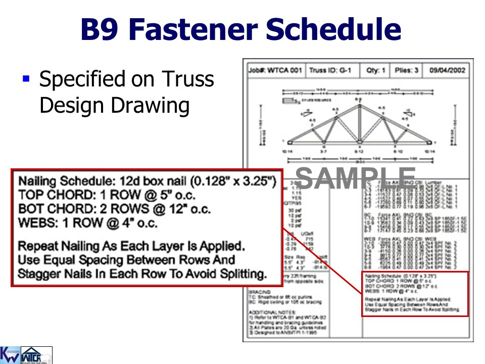 B9 Fastener Schedule SAMPLE Specified on Truss Design Drawing