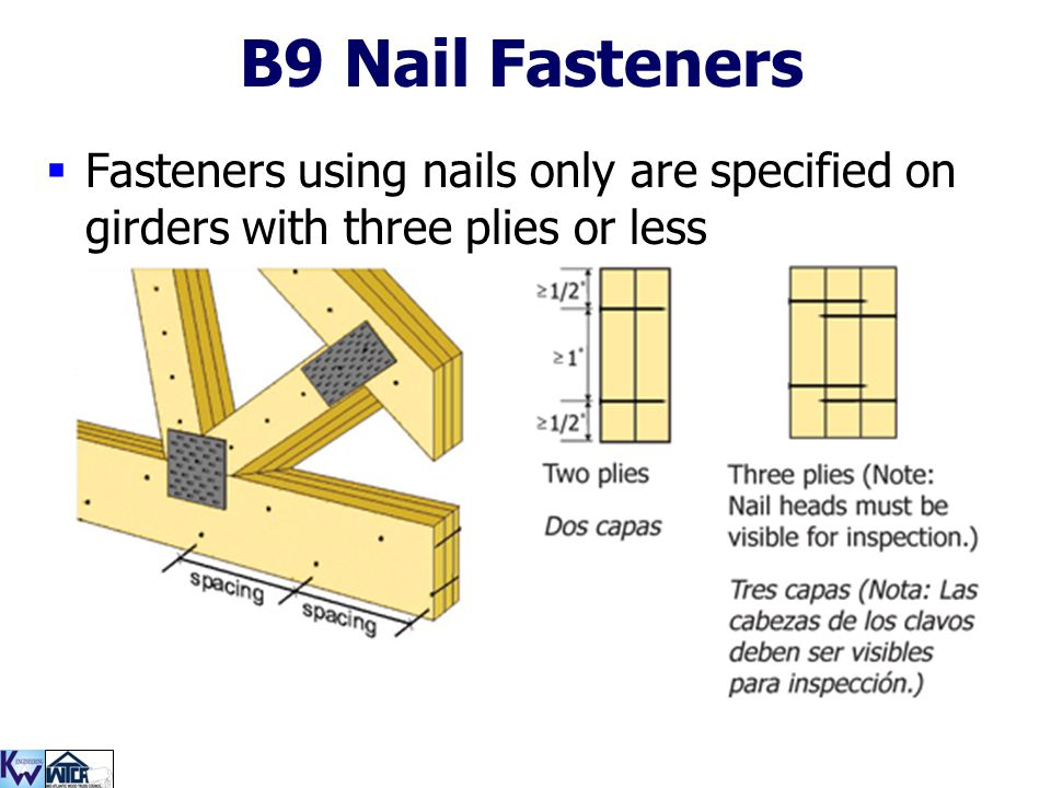 B9 Nail Fasteners Fasteners using nails only are specified on girders with three plies or less.