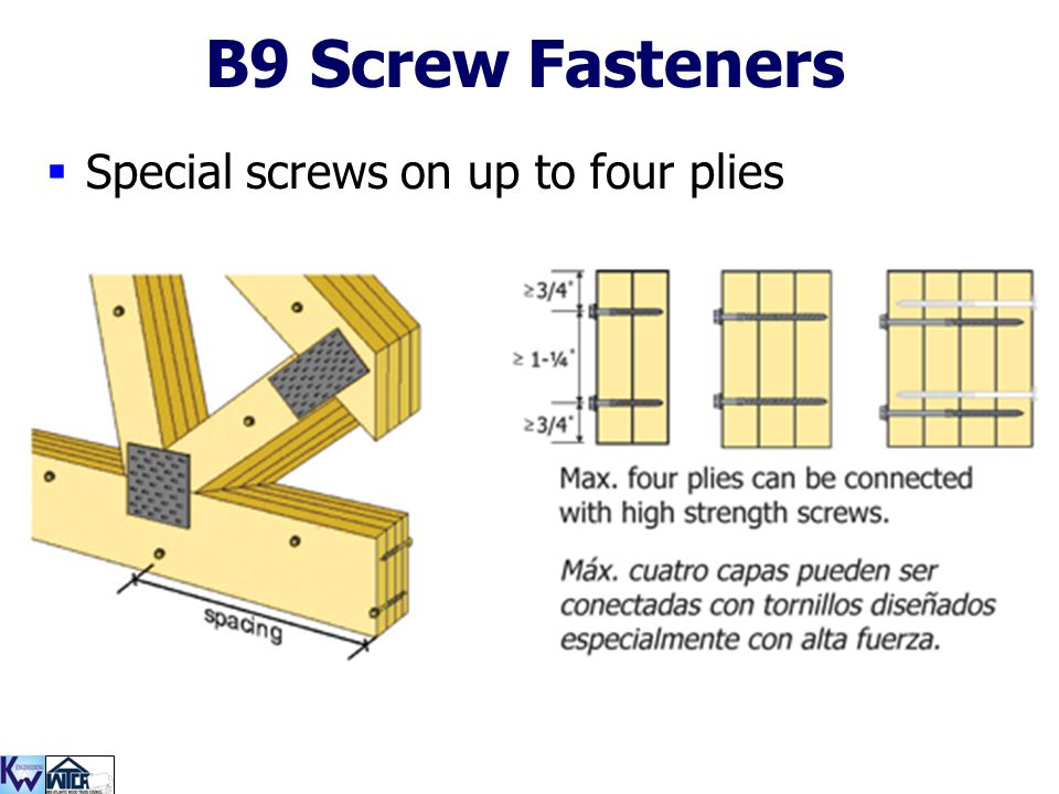 B9 Screw Fasteners Special screws on up to four plies