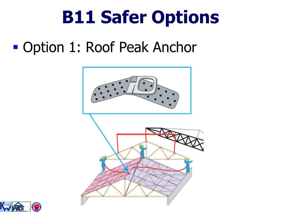 B11 Safer Options Option 1: Roof Peak Anchor
