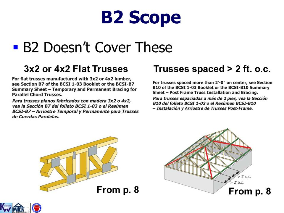 B2 Scope B2 Doesn't Cover These 3x2 or 4x2 Flat Trusses