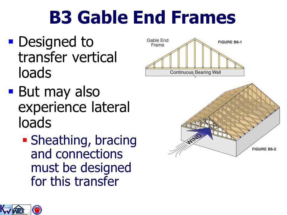 B3 Gable End Frames Designed to transfer vertical loads