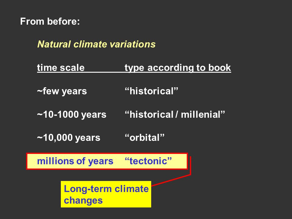 From before: Natural climate variations. time scale type according to book. ~few years historical