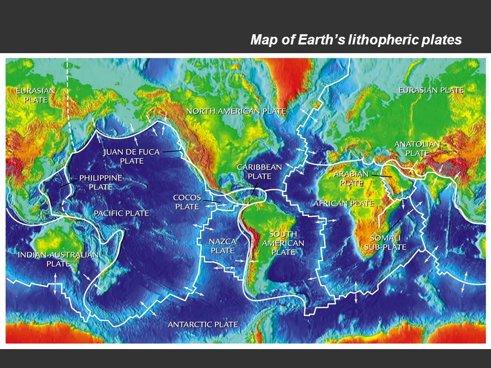 Map of Earth's lithopheric plates