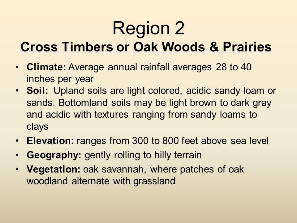 Cross Timbers or Oak Woods & Prairies