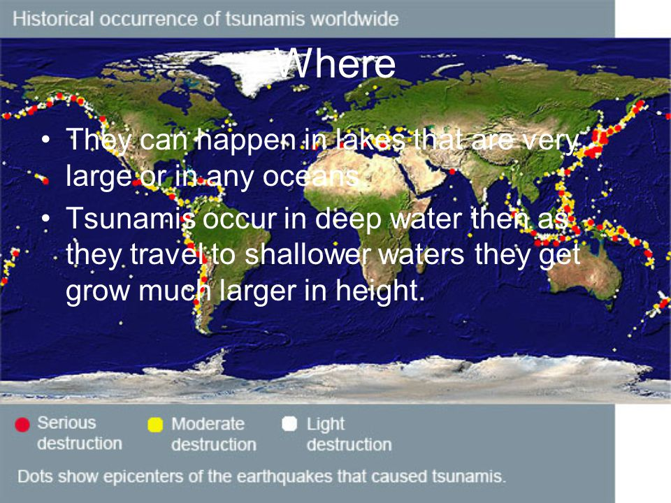 Where They can happen in lakes that are very large or in any oceans.