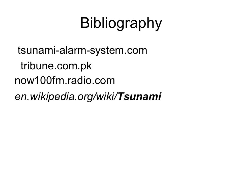 Bibliography tsunami-alarm-system.com tribune.com.pk