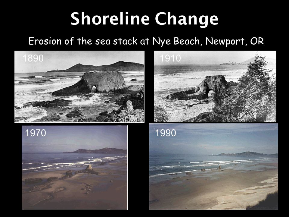 Shoreline Change Erosion of the sea stack at Nye Beach, Newport, OR