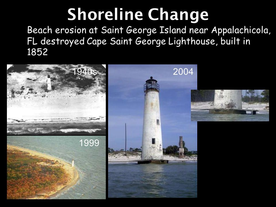 Shoreline Change Beach erosion at Saint George Island near Appalachicola, FL destroyed Cape Saint George Lighthouse, built in 1852.