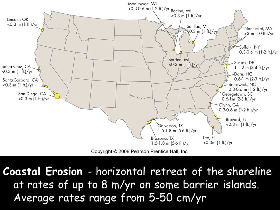 Coastal Erosion - horizontal retreat of the shoreline at rates of up to 8 m/yr on some barrier islands.