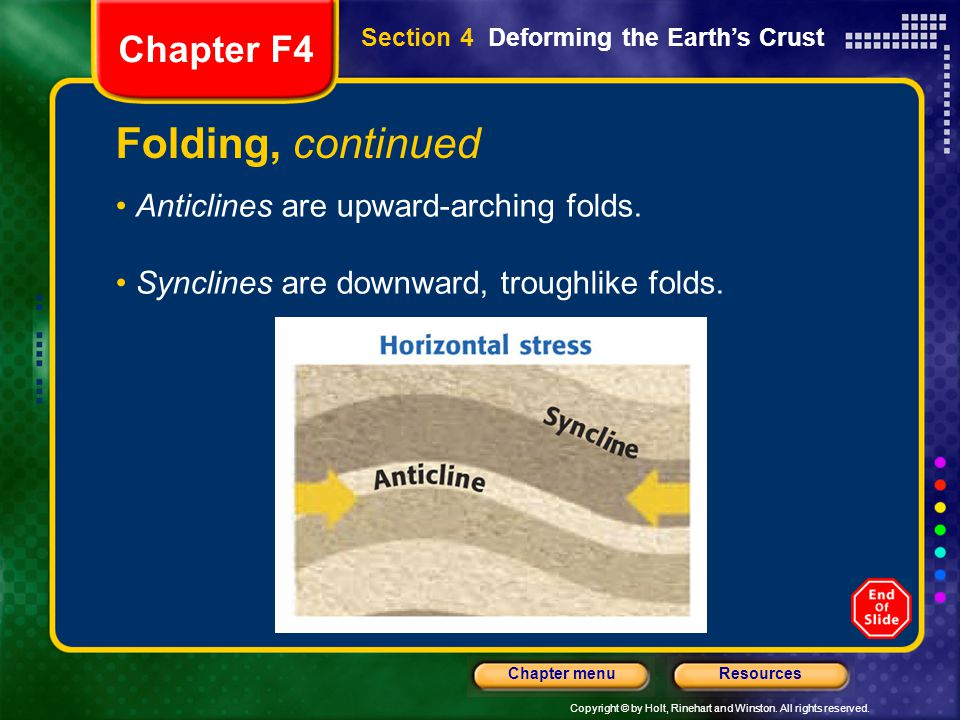 Folding, continued Chapter F4 Anticlines are upward-arching folds.