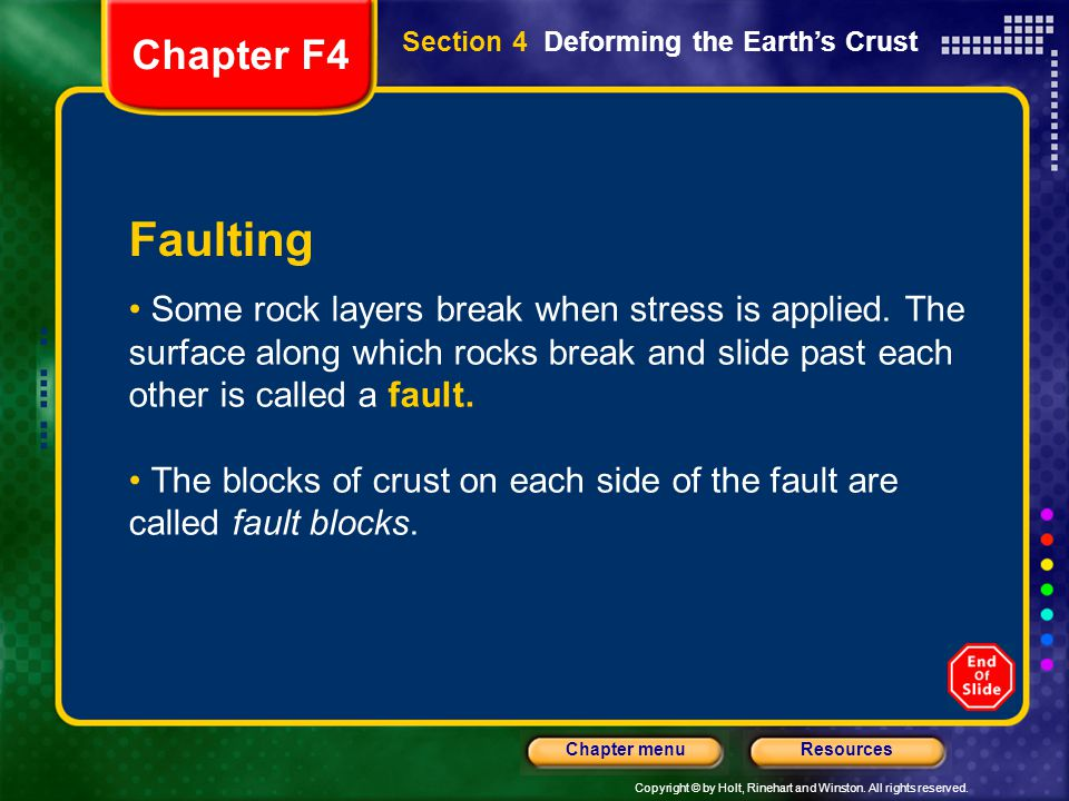 Chapter F4 Section 4 Deforming the Earth's Crust. Faulting.