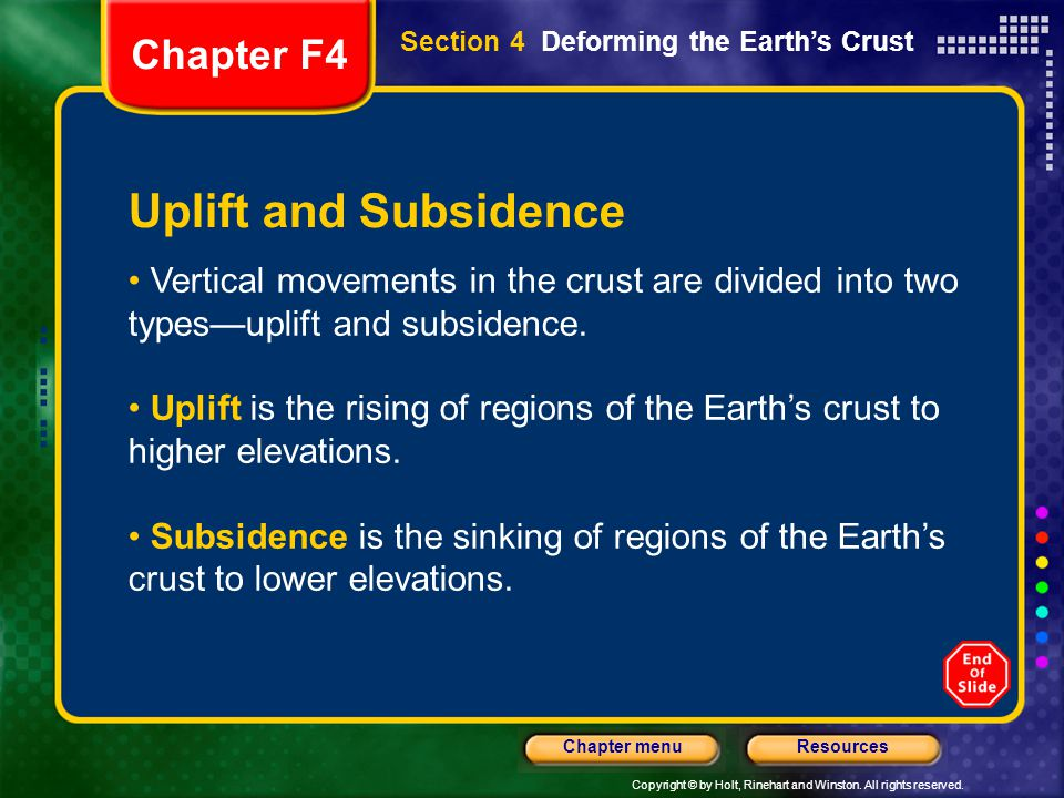 Uplift and Subsidence Chapter F4