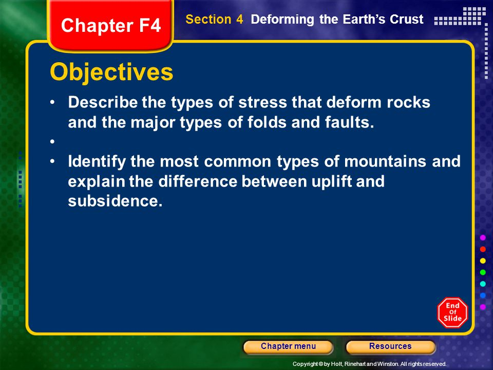 Chapter F4 Section 4 Deforming the Earth's Crust. Objectives.