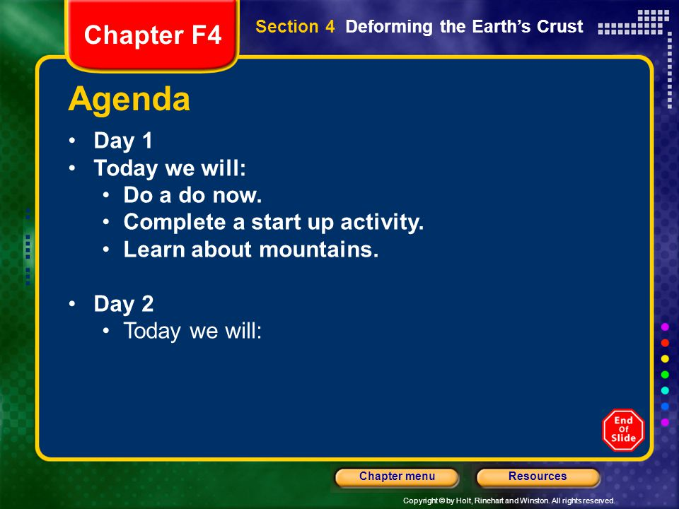 Agenda Chapter F4 Day 1 Today we will: Do a do now.