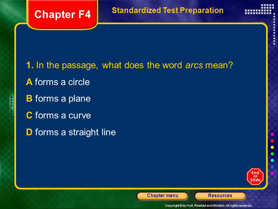 Chapter F4 1. In the passage, what does the word arcs mean